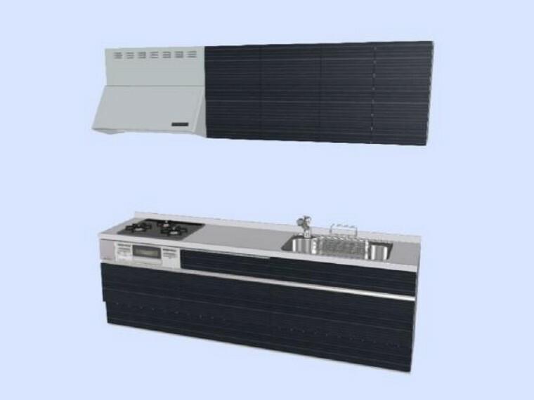 キッチン 【同仕様写真】新品リクシル製システムキッチンの天板は人工大理石で傷付きにくく使いやすく、収納はたっぷり入り、便利な引出式です。
