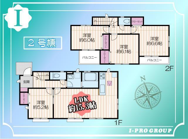 間取り図 こちら2号棟 車庫2台可能な2階建4LDK 全居室南向きで陽当り良好です