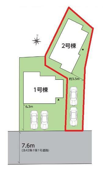 区画図 【2号棟区画図】土地面積159.96平米(48.38坪)