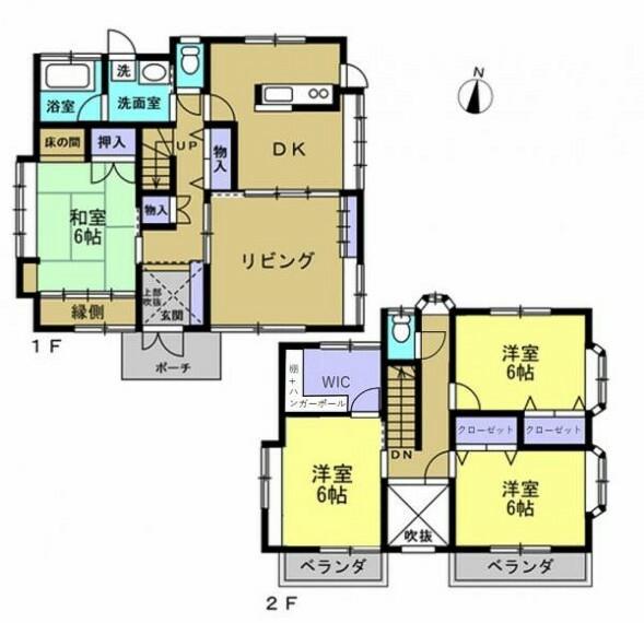 間取り図 【リフォーム後間取り図】ご家族様へおすすめの4LDKの住宅。浴室は一坪サイズです。