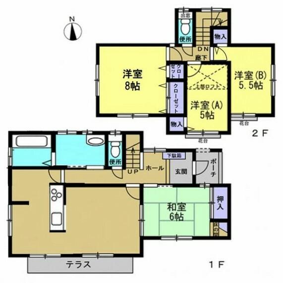間取り図 【リフォーム後間取図】ご家族様へおすすめの4LDKの住宅。LDKの間取り変更、浴室・洗面所の拡張を行います。