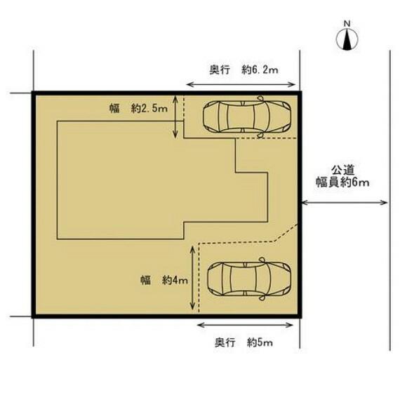 区画図 【リフォーム後区画図】駐車場スペースの増設を行い、並列2台駐車可能になりました。前面道路は約6mの公道。土地53坪、建物30坪の住宅です。