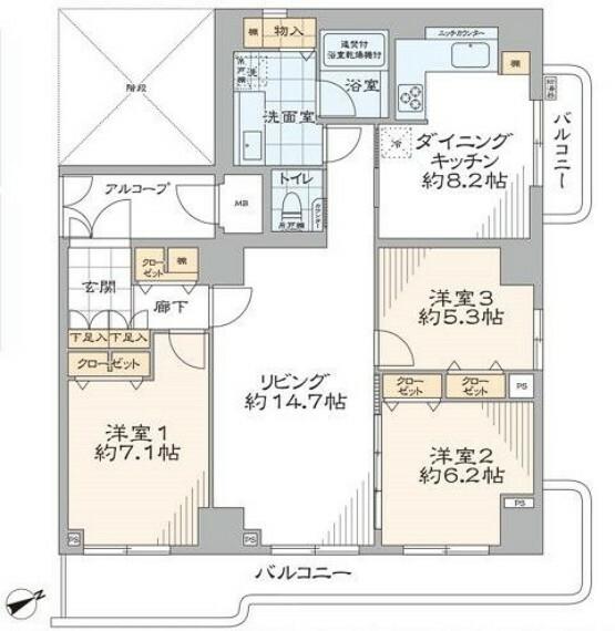 間取り図 専有面積96m2超・大型3LDKです。キッチンや洗面室にまで収納棚を備えた収納豊富なお部屋です。
