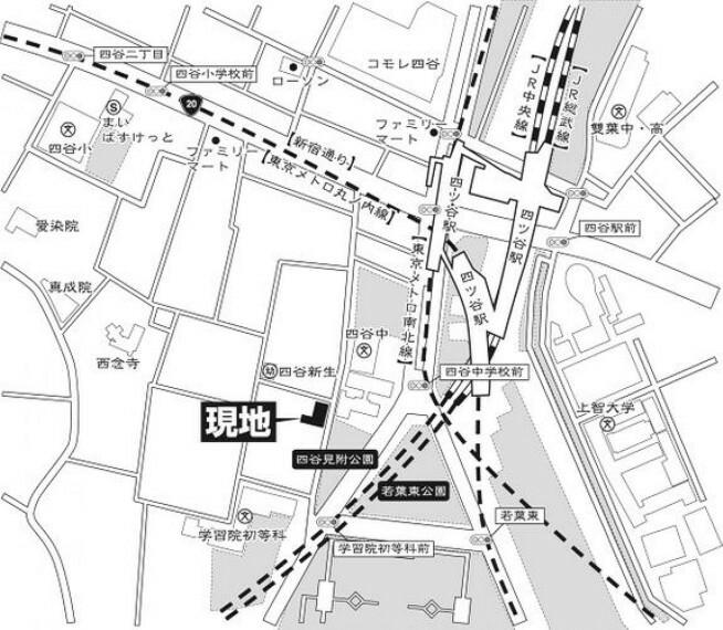区画図 JR中央総武線・東京メトロ南北線・東京メトロ丸ノ内線『四ツ谷』駅徒歩5分