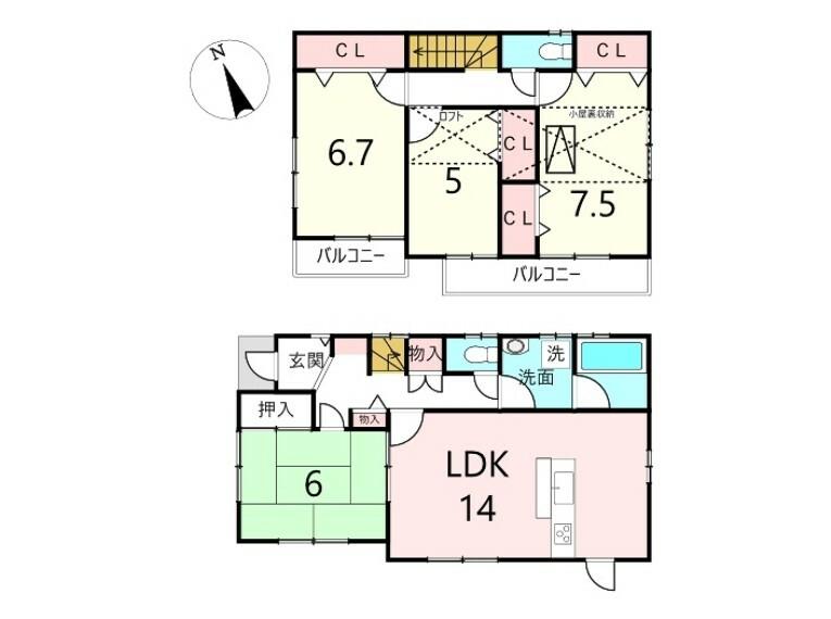 間取り図 4LDK、価格2680万円、土地面積103.24平米、建物延面積98.00平米