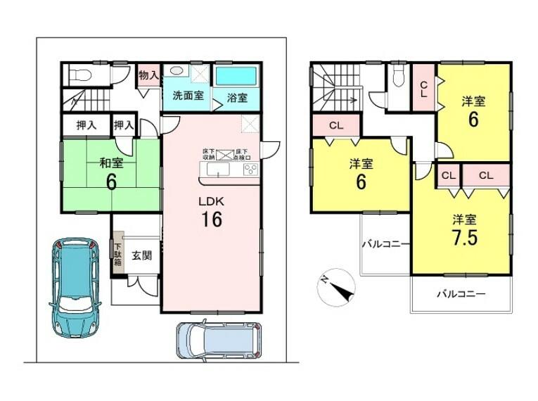 間取り図 4LDK 駐車2台可能です 約35坪