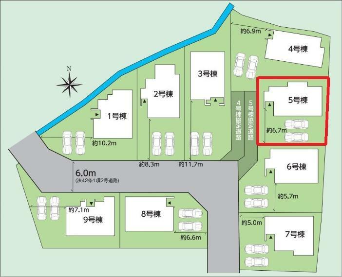 区画図 【5号棟区画図】土地面積206.31平米(62.41坪)
