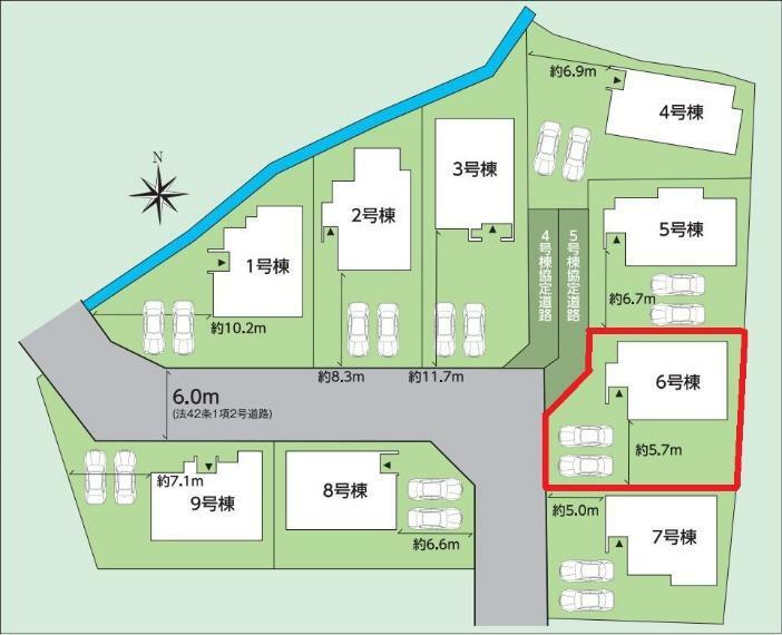 区画図 【6号棟区画図】土地面積192.92平米(58.36坪)
