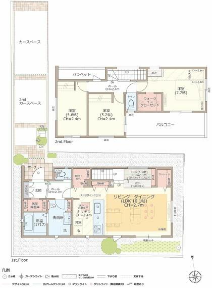 間取り図 【7号棟】3LDK+DEN+防災備蓄庫+ストレージ+ウォークインクローゼット ■土地/125.62平米(38.00坪)■建物/96.46平米(29.12坪)  ■リビングから小上がりにつながるスキップDENは、在宅ワークや、自宅学習、趣味のスペースに活躍します。家族とつながり、リビング空間を開放的に演出します。 ■家具のような佇まいのグラフテクトキッチンは、デザイン性、機能性に優れ、対面部分の壁や吊戸棚をなくし、キッチンからリビングダイニングを一気に見通せ広がりを感じます。 ■玄関ホールにコンセント付きの収納配置。非常時に役立つ非常食や工具などをストックできる防災備蓄庫としても活躍し、玄関周りをスッキリ保つことが出来ます。 ■リビングには大きなストレージ、階段下収納や可動棚付き収納があり、家電や掃除用具、買い置き備品などが仕舞え、部屋がスッキリと片付きます。 ■主寝室にあるカウンターは、在宅ワークはもちろん、奥様のパウダースペースとしても重宝し、様々なシーンに役立ちます。