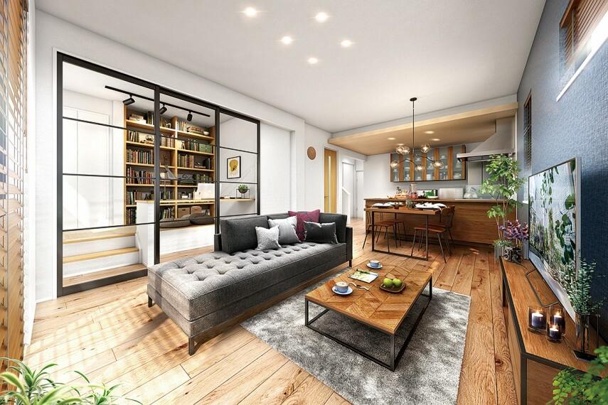 """居間・リビング 【自由自在な""""ウチナカ""""スタイル】  より良い暮らしを叶える「モアコンセプト」の家らしく、居心地の良いアイデアを散りばめました。きっと自分にあった暮らし方が見つかることでしょう。※1号棟完成予想図"""