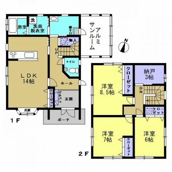 間取り図 【リフォーム中】現況間取り図です。3SLDKに変更を行う予定です。全居室収納付きなので収納場所に困らなくていいですね。