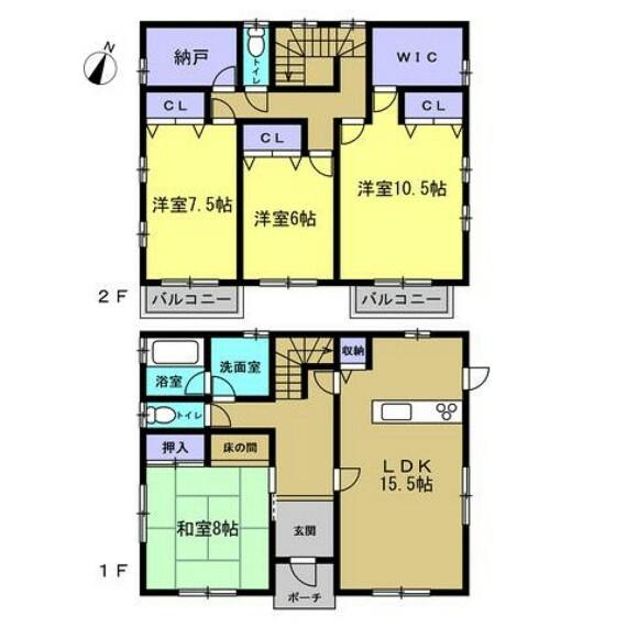 間取り図 平成8年3月築 軽量鉄骨 2階建 建物面積 130.00m2(39.32坪)4SLDKです。水回りの交換を中心としたリフォームでリフレッシュしますのでさわやかに新生活をスタートできますよ。