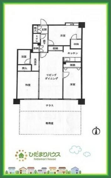 間取り図 専用庭付きの1階部分になります(*^^*)