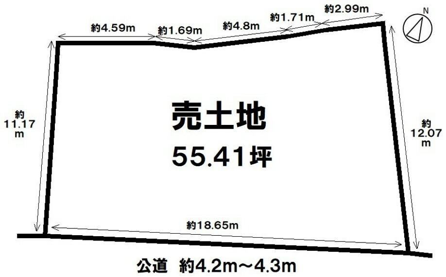 土地図面 【自然に囲まれた55.41坪売土地】名鉄常滑線 蒲池駅まで徒歩10分の立地