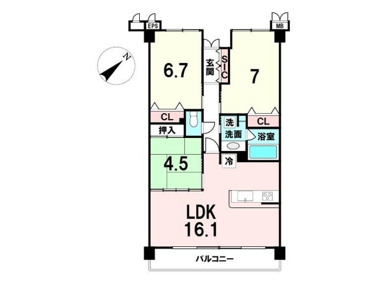 間取り図 間取り:3LDK 価格:2380万円 専有面積:73.72平米 バルコニー:南東向き 17.78平米