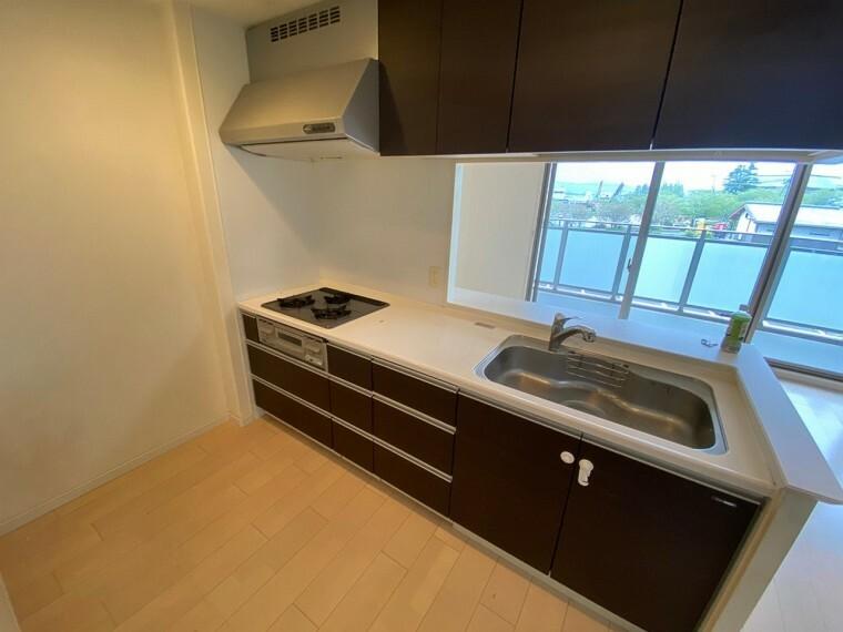キッチン 使い勝手の良い引き出し型の収納に、美しさと耐久性に優れた人造大理石のカウンターのキッチンです。