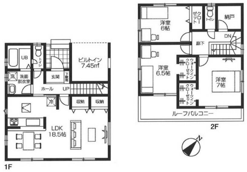 間取り図 全居室6帖以上のゆとりある間取り。 納戸もあり、収納豊富。