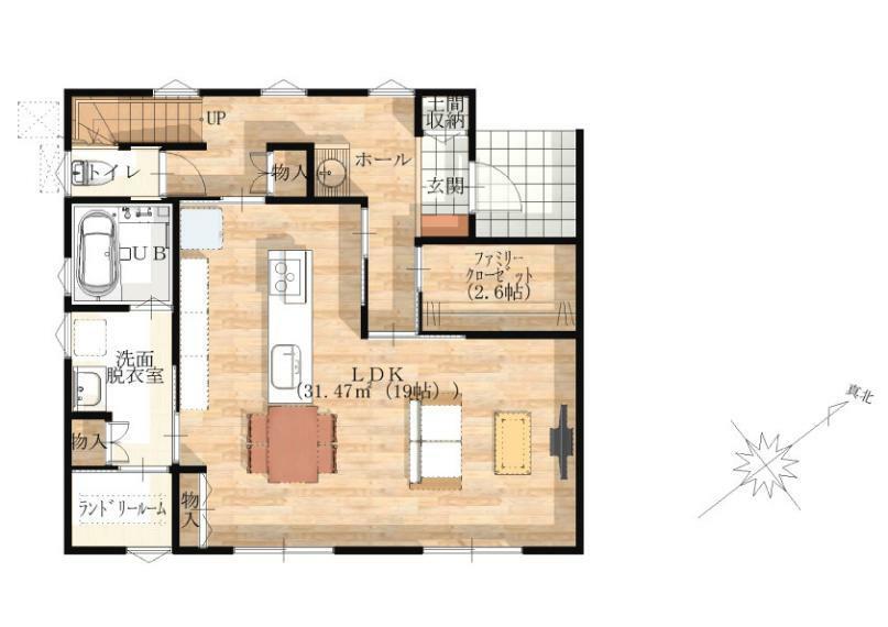 間取り図 【1階】 便利な収納が豊富で生活しやすい間取りです。南側にあるランドリールームは梅雨や花粉の時期にも重宝する便利なスペースです。