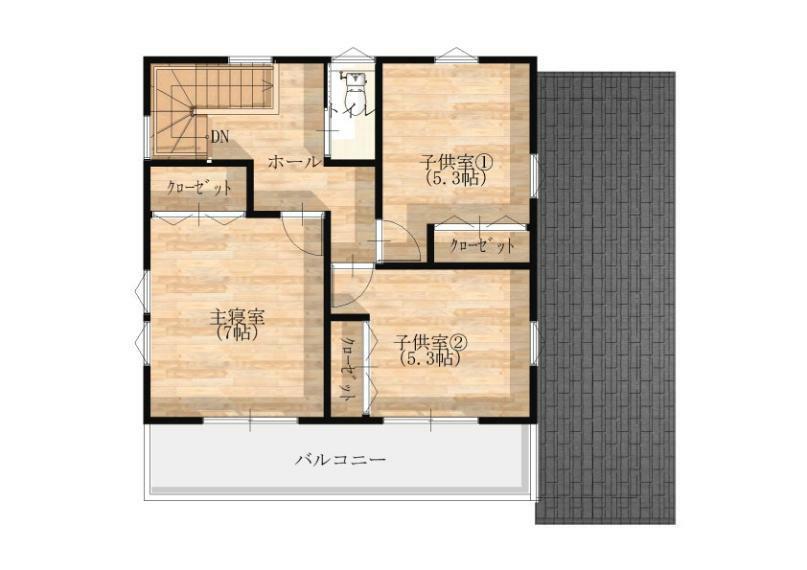 間取り図 【2階】 2階の各居室にも収納を設けています。