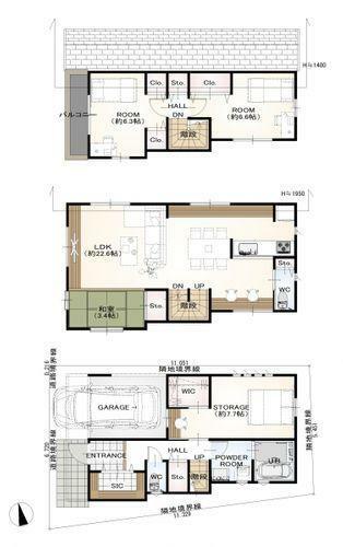 区画図 参考プラン建物面積 110.35平米参考プラン建物価格 2800万円(税込)