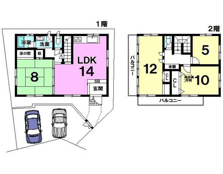 間取り図 【内覧可】建物面積111.78平米・4LDK!2面バルコニー!屋根裏収納有!駐車場2台可(普通・軽)