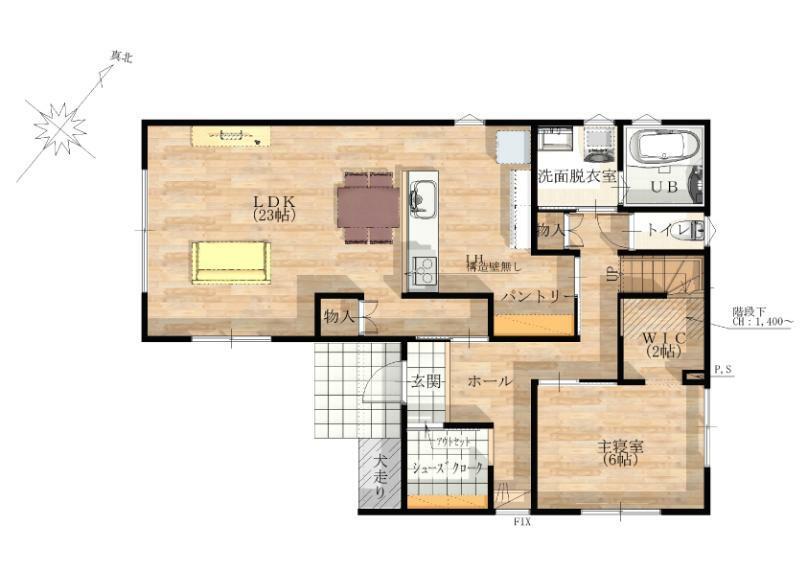 間取り図 【1階】 1階に主寝室を設けた間取りです。朝の支度や就寝前も移動が少なくなります。
