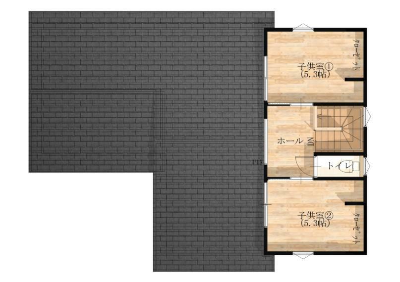 間取り図 【2階】 2階には子ども室が2部屋あります。子ども室にもクローゼットを設けています。