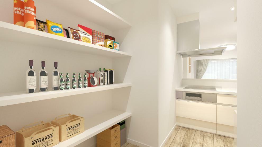 完成予想図(内観) キッチンの奥にパントリーがあるので食品や調理器具もたっぷり収納できます。(内観完成予想図)