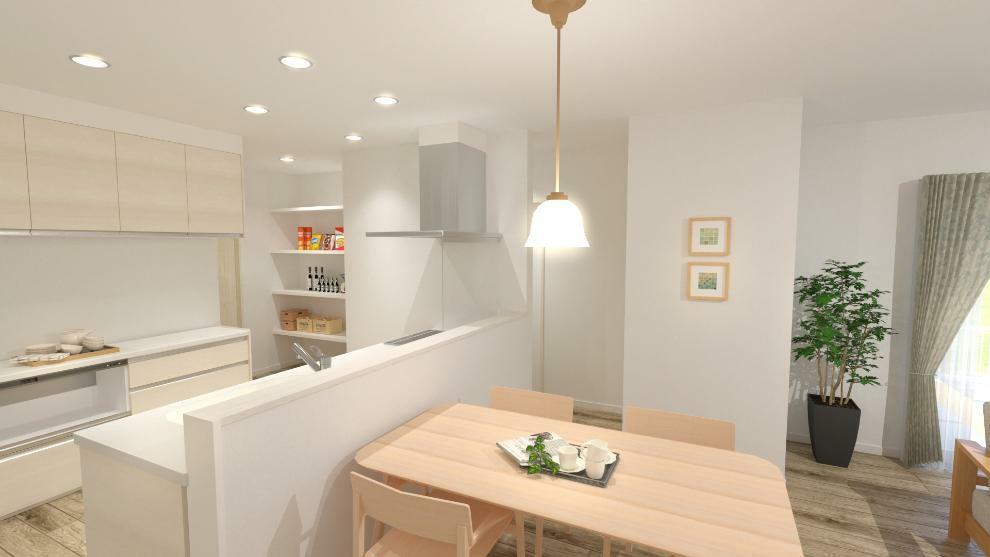 完成予想図(内観) ダイニングスペースはキッチンの前にあります。(内観完成予想図)