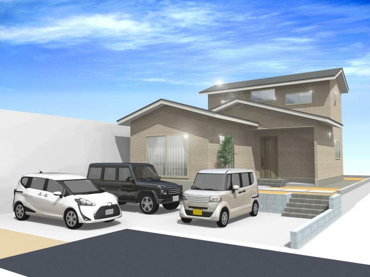 完成予想図(外観) 平屋のような2階建てのお家です。カースペースには車3台が駐車できます。(外観完成予想図)