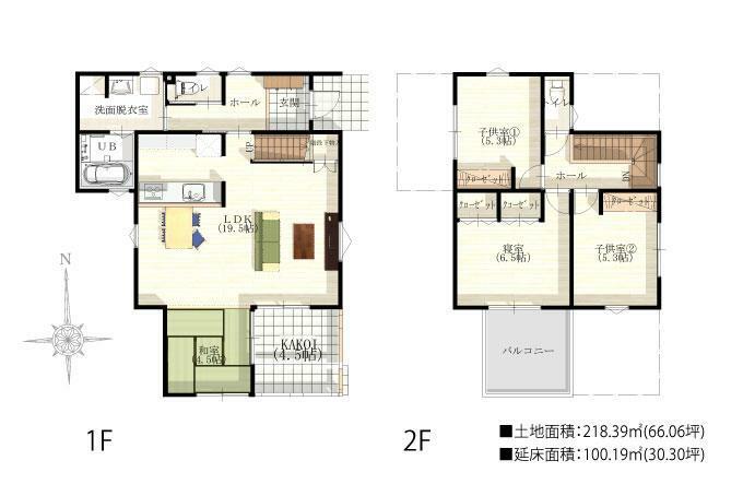参考プラン間取り図 向原3区画No.3 KAKOI付きプラン 土地面積:218.39平米(66.06坪) 延床面積:100.19m2(30.30坪) ※こちらのプランは一例です。プランはお客様が自由に決められます。