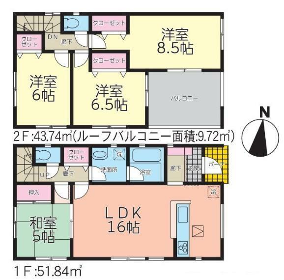 間取り図 【5号棟間取り図】4LDK 建物面積95.58平米(28.96坪)
