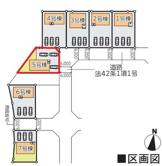 区画図 【5号棟区画図】土地面積200.67平米(60.7坪)