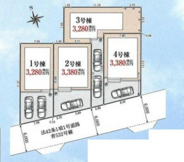 区画図 土地面積33坪超!居室シャッター標準設置です。