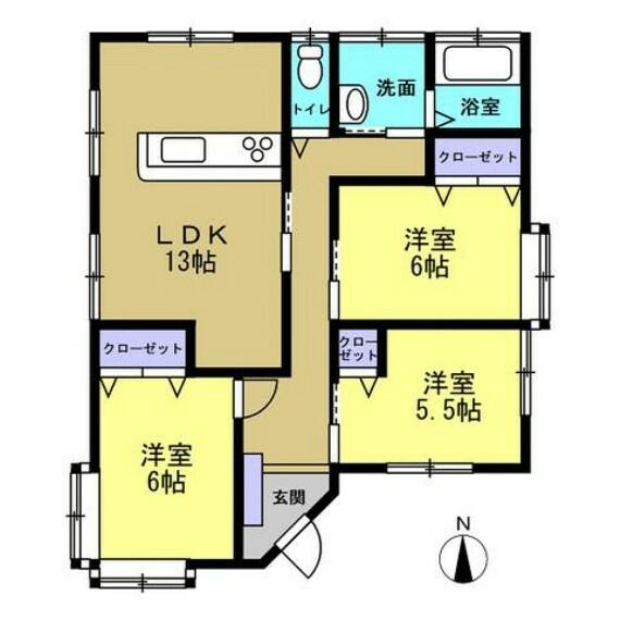 間取り図 【リフォーム後間取】生活のしやすさを考えて、13帖のLDKを作成。和室を洋室変更し、各部屋収納付きにしました。収納が多いと、お部屋を広く使えますし便利ですね。