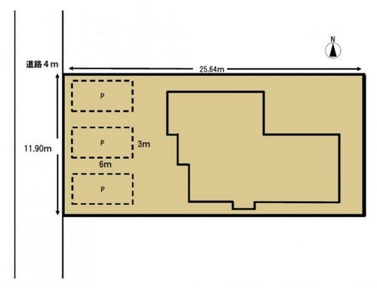 区画図 敷地図です。間口が11.90mで、車3台をゆったり駐車できるスペースがあります。中庭があるので、ウッドデッキなどを造作すると、家族と過ごす休日が楽しそうですね。