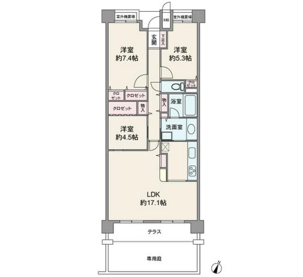 間取り図 間取り図。専有面積76.53平米の3LDKの間取です。全洋室収納があるため、荷物やお洋服がたくさんある方でも安心です。