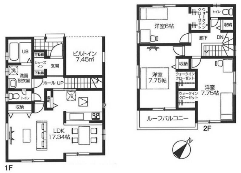 間取り図 全居室6帖以上のゆとりある間取り。 ウォークインクローゼットのあるお住まい。