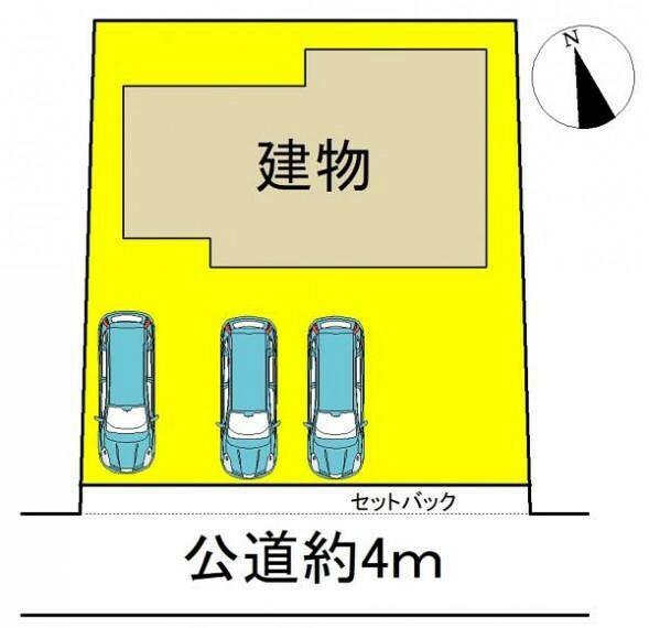 区画図 ●並列駐車3台可能●