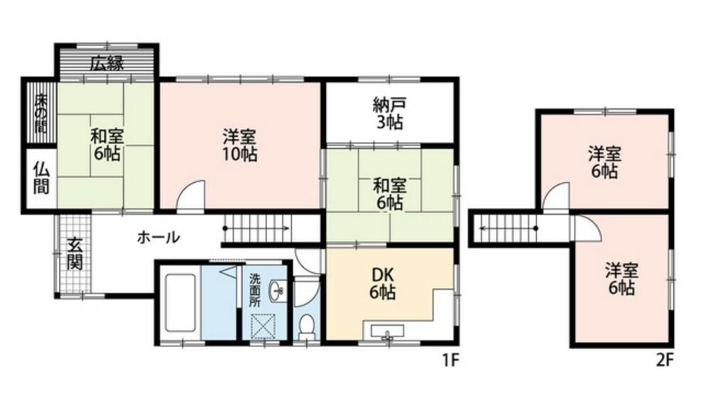 間取り図 5SDK、全室6畳以上でゆとりのある暮らしが実現。お好きな家具でこだわりの空間づくりができます^^