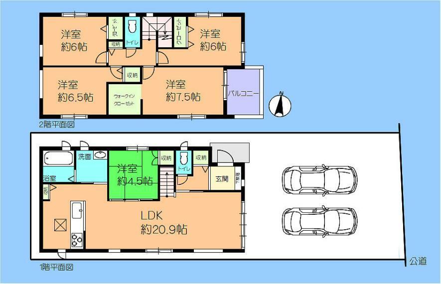 間取り図 1号棟 敷地面積約46坪! 5LDK+WIC