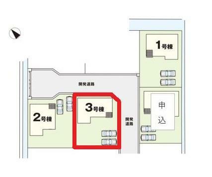 区画図 【3号棟区画図】土地面積199.00平米(60.19坪)
