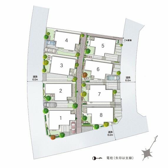 区画図 【フットパスのある緑豊かな街並み】  街区内には、クルマが通行できない歩行者専用のフットパス(小路)を設置。自然の風が通り抜ける心地よいスペースが、コミュニティを育む場にもなります。