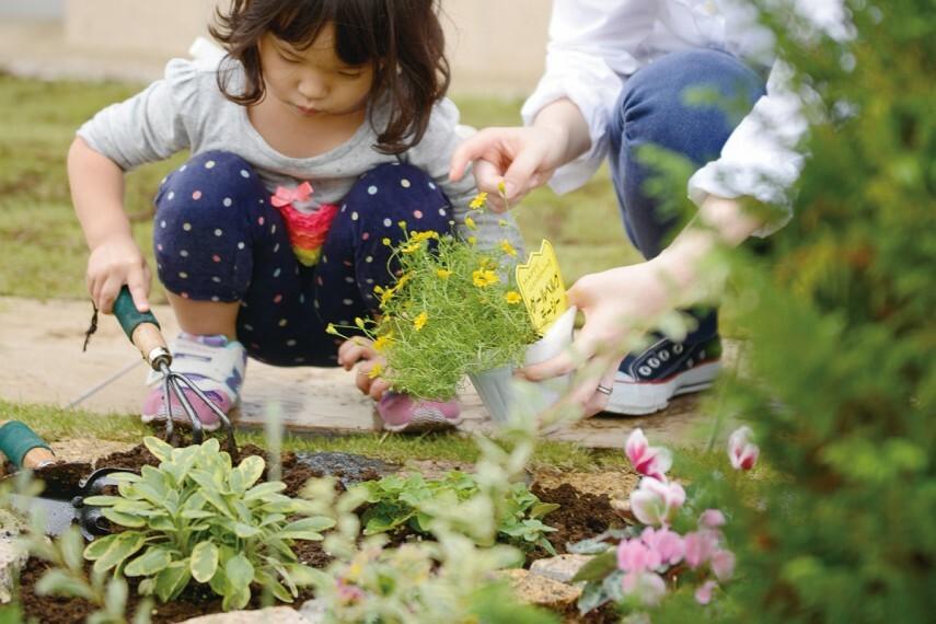 庭 【家庭菜園「ポタジェ」】  庭にはポタジェ(家庭菜園)を標準で設定。とれたての野菜を料理したり、ブルーベリーを植えて収穫した実でジャム作ったり、お子さまの食育にも役立ちます。