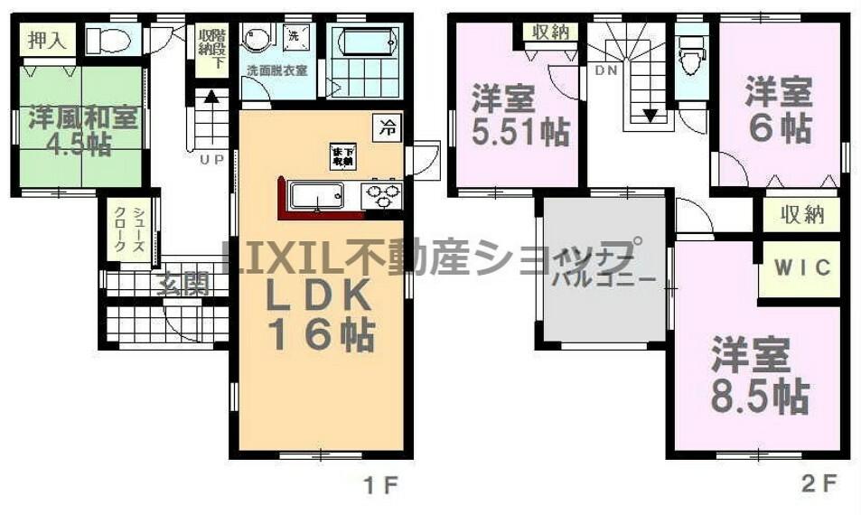 間取り図 間取り図です。全部屋角部屋・収納スペースが豊富です!