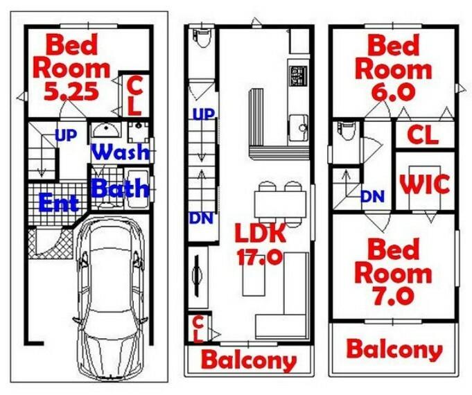 間取り図 3SLDK/ウォークインクローゼット/全居室収納/LDK17帖/カウンター風キッチン