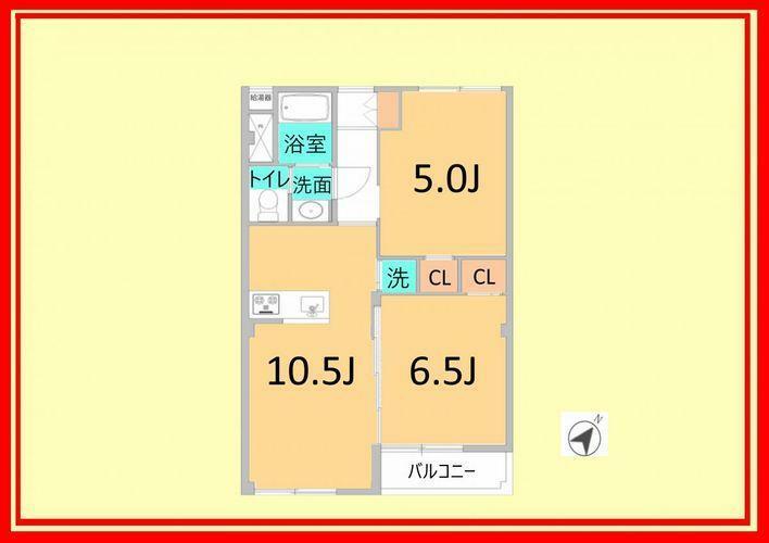 間取り図 専有面積にはバルコニー面積が含まれております。居室に関して、建築基準法上では一部「納戸」扱いとなる可能性がございます。