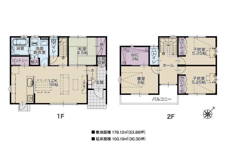 参考プラン間取り図 建物プラン例(3号地) 延床面積:100.19m2(30.30坪) ※こちらのプランは一例です。プランはお客様が自由に決められます。
