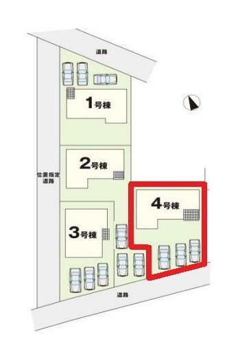 区画図 【4号棟区画図】土地面積201.00平米(60.80坪)