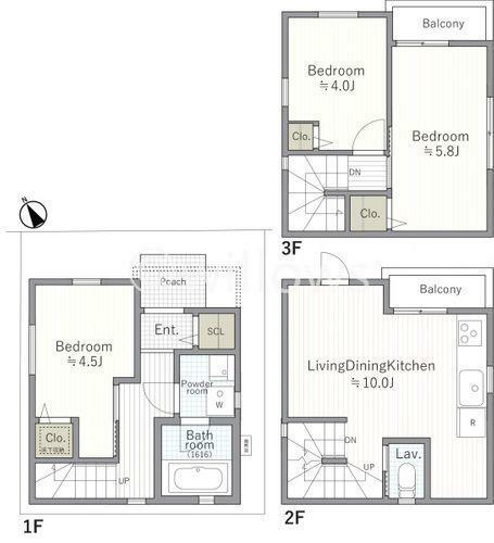 間取り図 B号棟、3680万円です。土地面積34.95m2、建物面積62.85m2です。3階建ての3LDKとなりまして、LDKには床暖房がございます。現地のご案内お気軽にお問い合わせくださいませ。